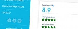 TurkijeVisum.nl wordt beoordeeld met een 8,9