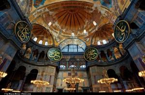 Binnenin de Hagia Sophia in Istanbul, Turkije
