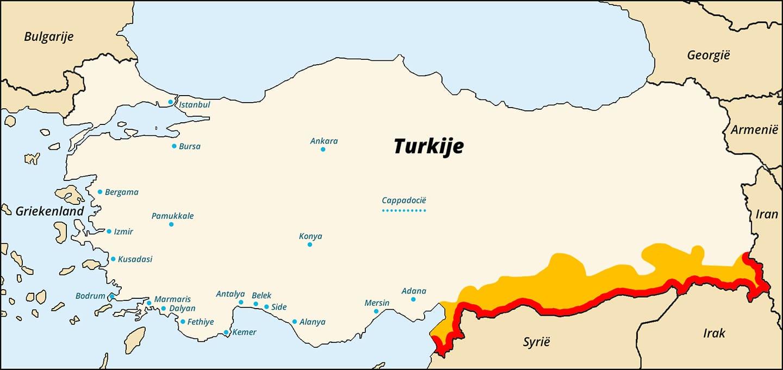 Reisadvies Turkije kaart - 22 april 2015