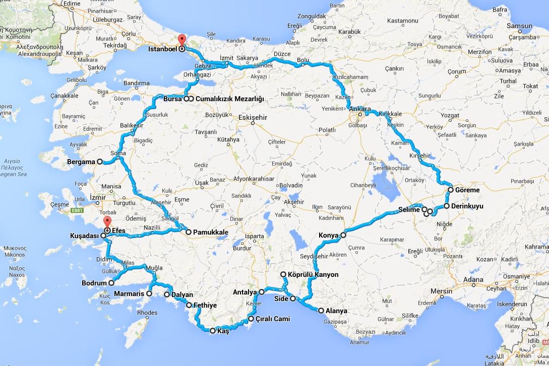 Route van onze rondreis door Turkije