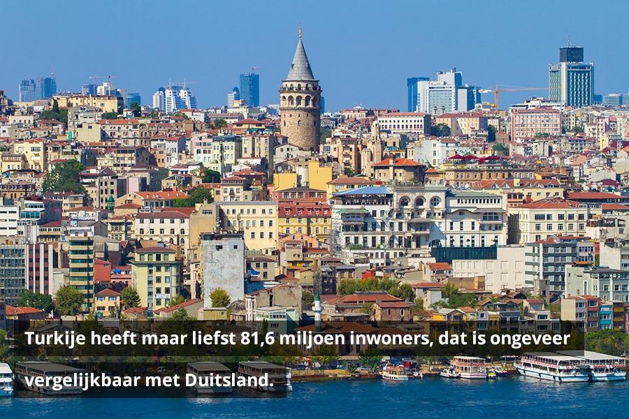 Turkije heeft maar liefst 81,6 miljoen inwoners, dat is ongeveer vergelijkbaar met Duitsland.