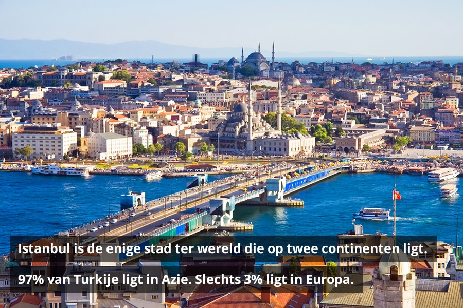 Istanbul is de enige stad ter wereld die op twee continenten ligt. 97% van Turkije ligt in Azie. Slechts 3% ligt in Europa.