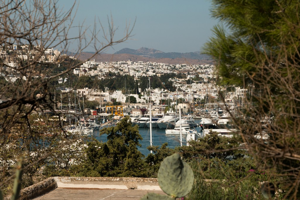 De haven en witte huisjes in Bodrum