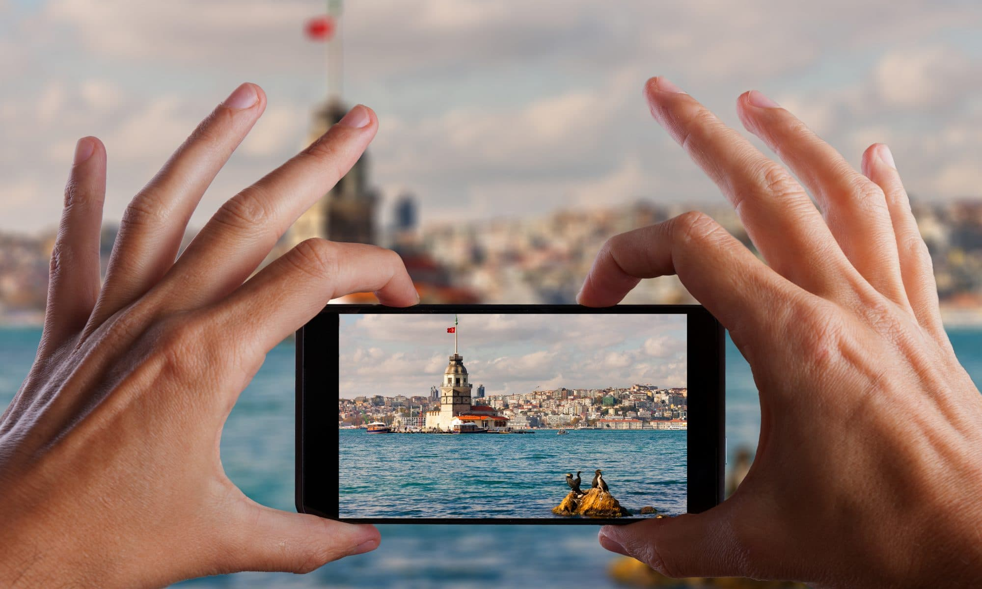 Iemand maakt een foto in Istanbul, Turkije