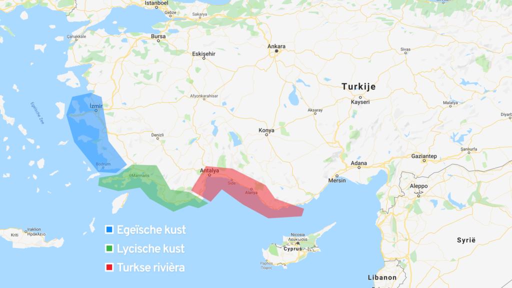 Turkse regio's: Egeïsche kust, Lycische kust en Turkse rivièra