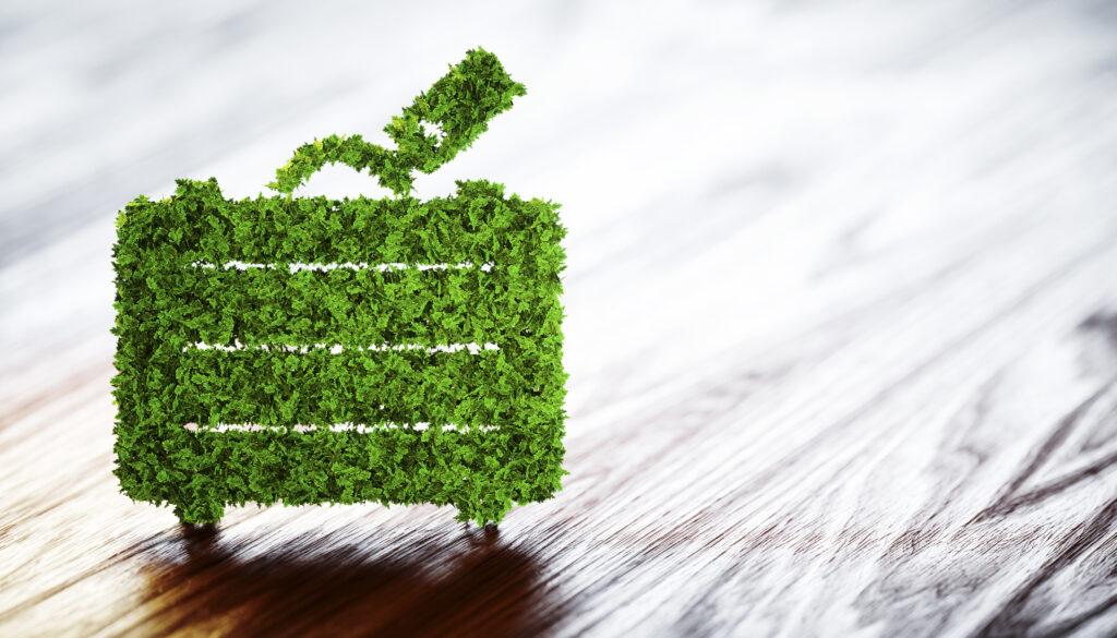 Koffer met groene bladeren op een houten achtergrond