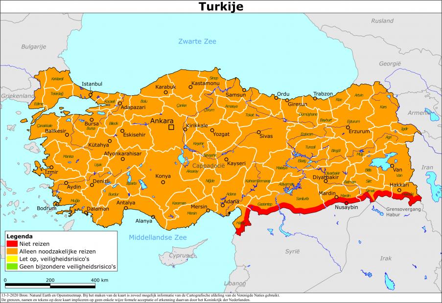 Reisadvies Turkije - Update 13-03-2020